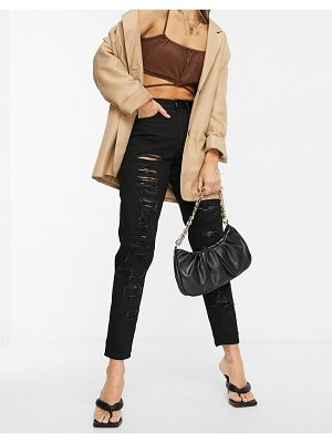 NaaNaa high waisted ripped mom jeans in black