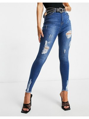 NaaNaa high waisted ripped skinny jeans in midwash blue