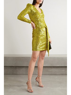 Naeem Khan belted sequined stretch-tulle mini dress