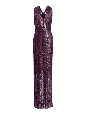 Naeem Khan crossed halterneck sequin gown