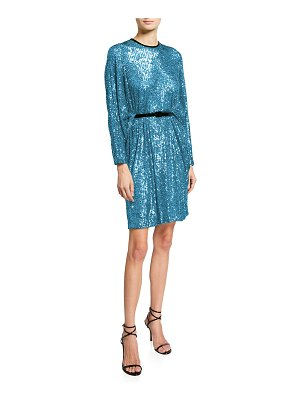 Naeem Khan Dramatic-Sleeve Sequin Dress With Piping