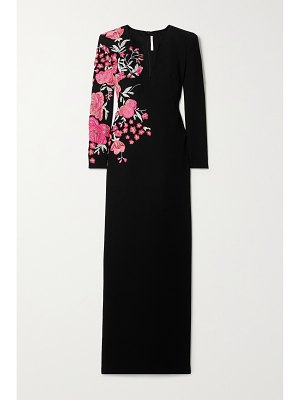 Naeem Khan embroidered wool-crepe gown
