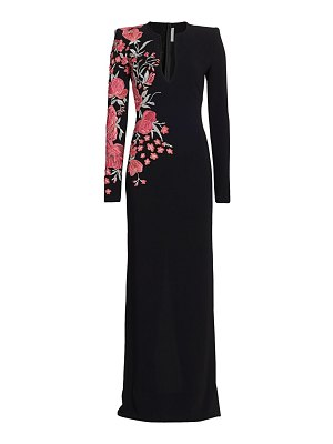 Naeem Khan floral-embroidered long-sleeve column gown