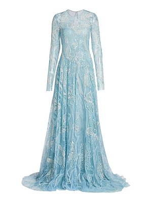 Naeem Khan floral lace long-sleeve sheer a-line gown