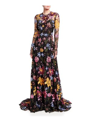 Naeem Khan Floral Sequin-Embroidered Tulle Illusion Gown