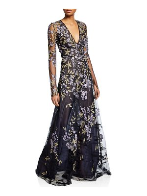 Naeem Khan Long-Sleeve Floral-Embroidered Lace Illusion Gown