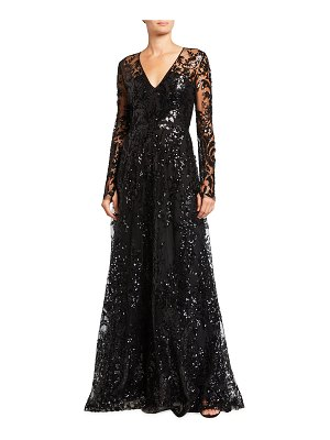 Naeem Khan Long-Sleeves Sequin Embroidered A-Line Gown