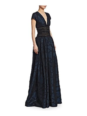Naeem Khan metallic embroidered-waist ball gown