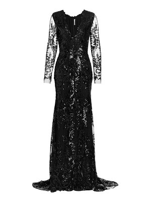 Naeem Khan plunging sequin lace long sleeve gown