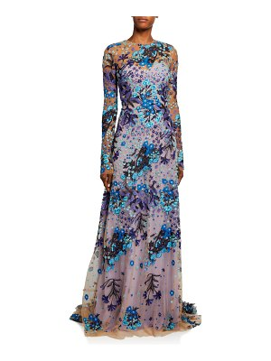 Naeem Khan Print Long-Sleeve Gown