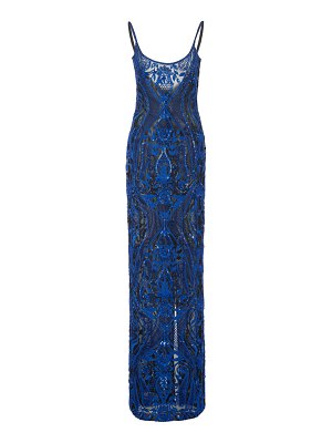 Naeem Khan sequin-embellished lace accented gown