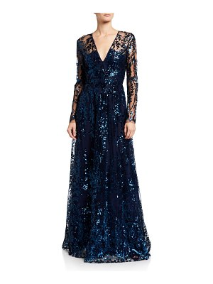 Naeem Khan Sequin Embroidered V-Neck Gown