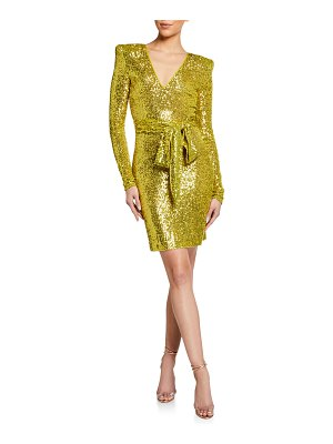 Naeem Khan Stretch Sequined Wrap Dress
