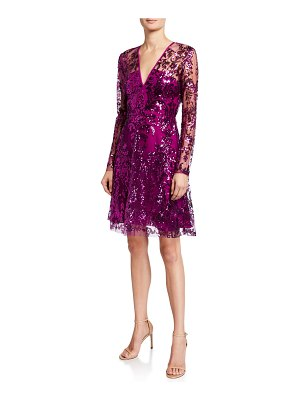 Naeem Khan V-Neck Sequined Tulle A-Line Dress