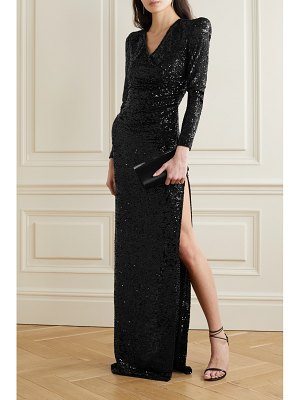 Naeem Khan wrap-effect draped sequined tulle gown