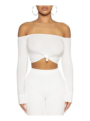 Naked Wardrobe off the shoulder tie front top