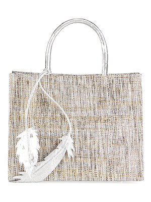 Nancy Gonzalez Emma Small Metallic Crocodile Raffia Tote Bag