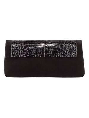 Nancy Gonzalez Gotham Crocodile & Velvet Clutch Bag