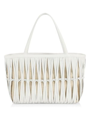 Nancy Gonzalez knotted leather and raffia chaira tote