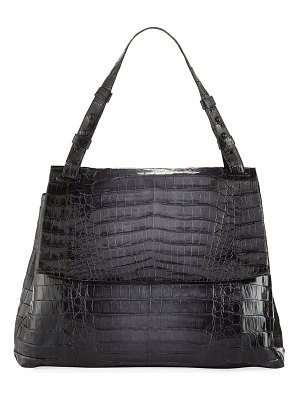 Nancy Gonzalez Large Crocodile Flap Shoulder Bag