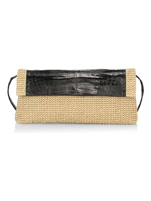 Nancy Gonzalez large gotham crocodile-trimmed raffia clutch