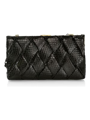Nancy Gonzalez large woven snakeskin frame clutch