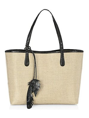Nancy Gonzalez medium erica linen & crocodile trim tote