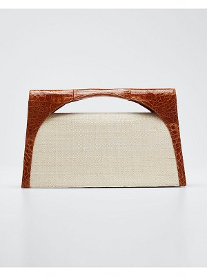 Nancy Gonzalez Sammy Large Keyhole Linen and Croc Clutch Bag