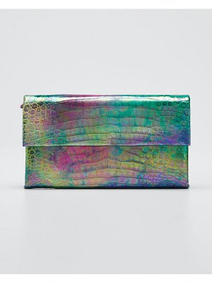Nancy Gonzalez Simple Crocodile Flap Clutch Bag