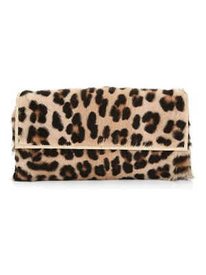 Nancy Gonzalez small gotham leopard-print goat hair & crocodile clutch