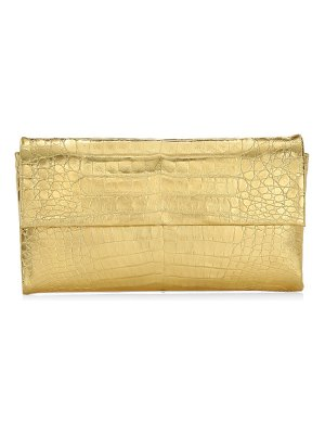 Nancy Gonzalez small gotham metallic crocodile clutch
