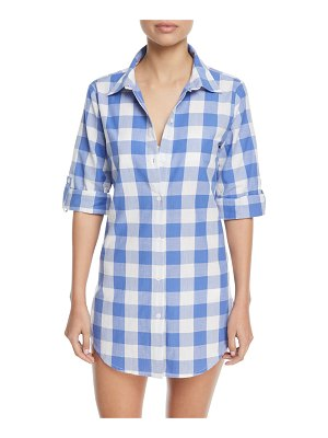 Nanette Lepore Button-Front Gingham Cotton Coverup Shirt