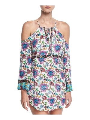 Nanette Lepore Rosarito Off-the-Shoulder Printed Coverup Dress
