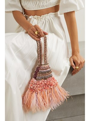 Nannacay net sustain laine faux feather-trimmed embellished velvet tote