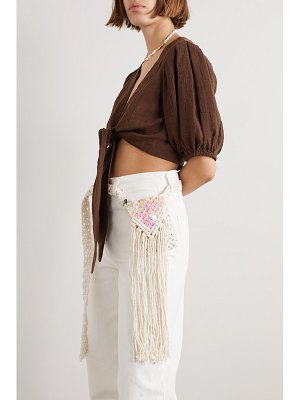 Nannacay net sustain fringed sequin-embellished macramé belt bag - off-white