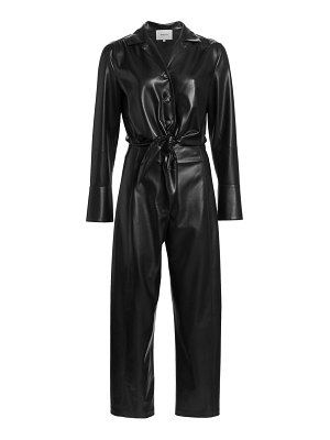 Nanushka ana vegan leather tie-front jumpsuit
