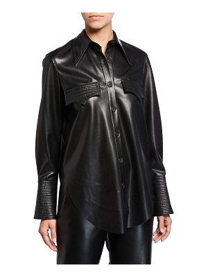 Nanushka Elpi Vegan Leather Long-Sleeve Button-Down Shirt