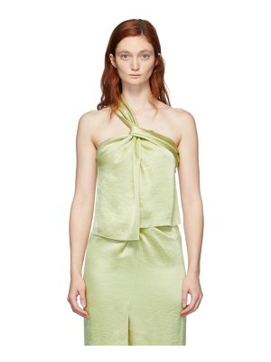 Nanushka green satin single strap manon tank top