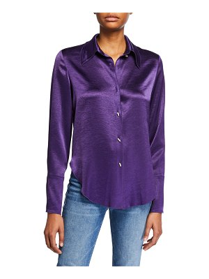 Nanushka Mandine Satin Button-Down Top