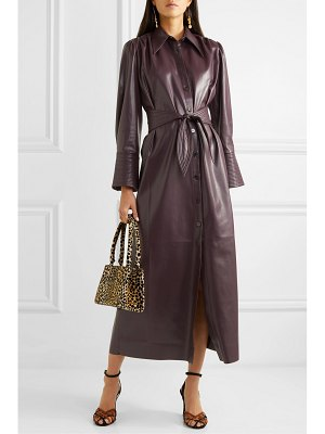 Nanushka rosana belted vegan leather dress