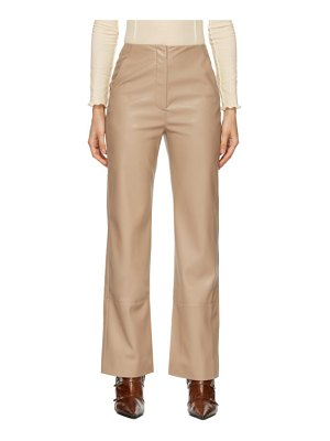 Nanushka tan vegan leather rhyan trousers