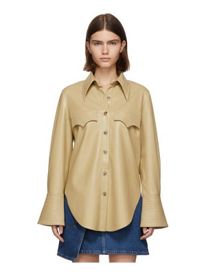 Nanushka yellow vegan leather elpi shirt