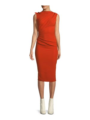 Narciso Rodriguez High-Neck Sleeveless Draped Side Slim-Fit Dress