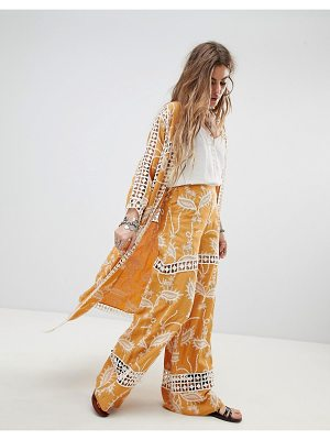 Native Rose festival flares in embroidered lace-yellow