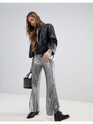 Native Rose festival flares in sequin-silver