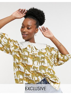 Native Youth balloon sleeve blouse with lace collar in leopard print-white