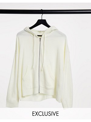 Native Youth extreme oversized knitted hoodie in cream-white