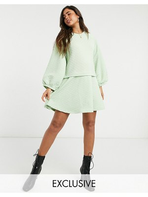 Native Youth oversized smock dress in diamond quilting-green