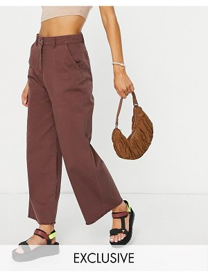 Native Youth relaxed wide leg jeans in frayed chocolate set-brown