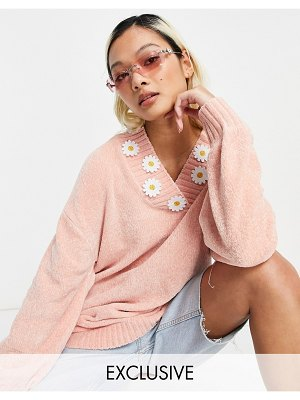 Native Youth super cute oversized sweater with daisy trim-pink